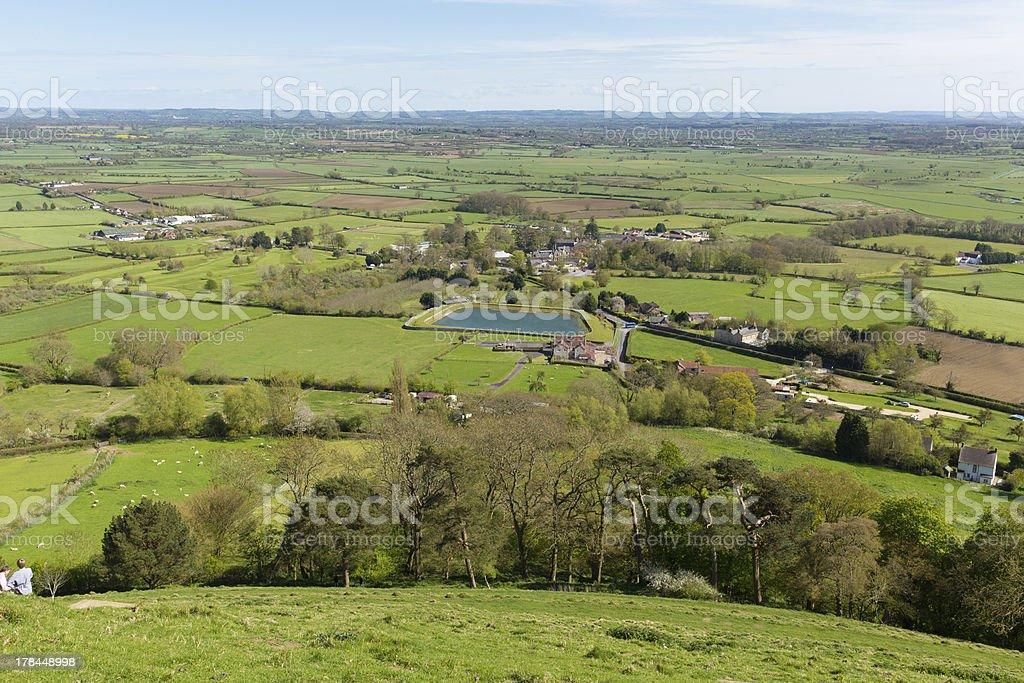 View from Glastonbury Tor Somerset England stock photo