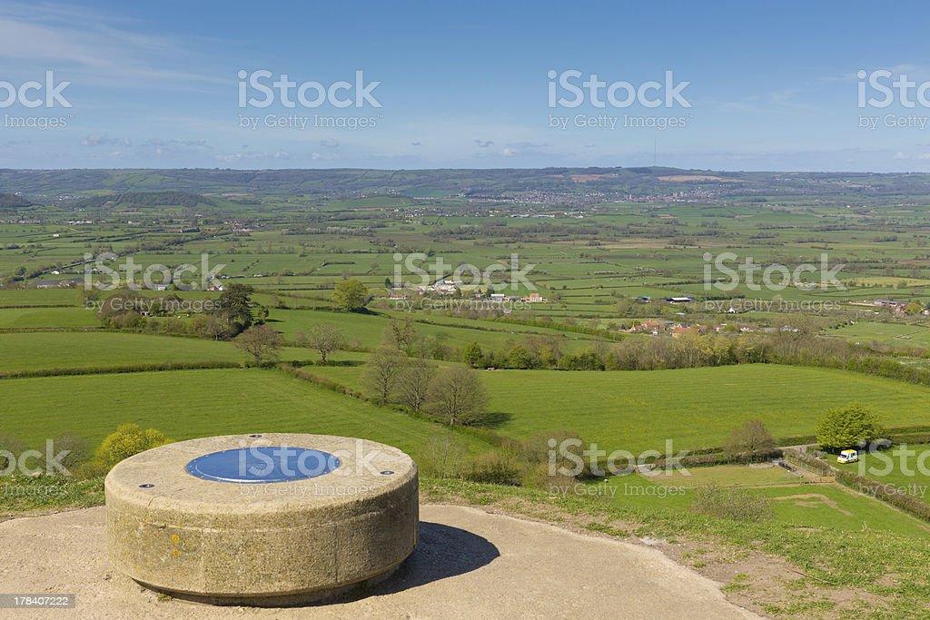 View from Glastonbury Tor Somerset stock photo