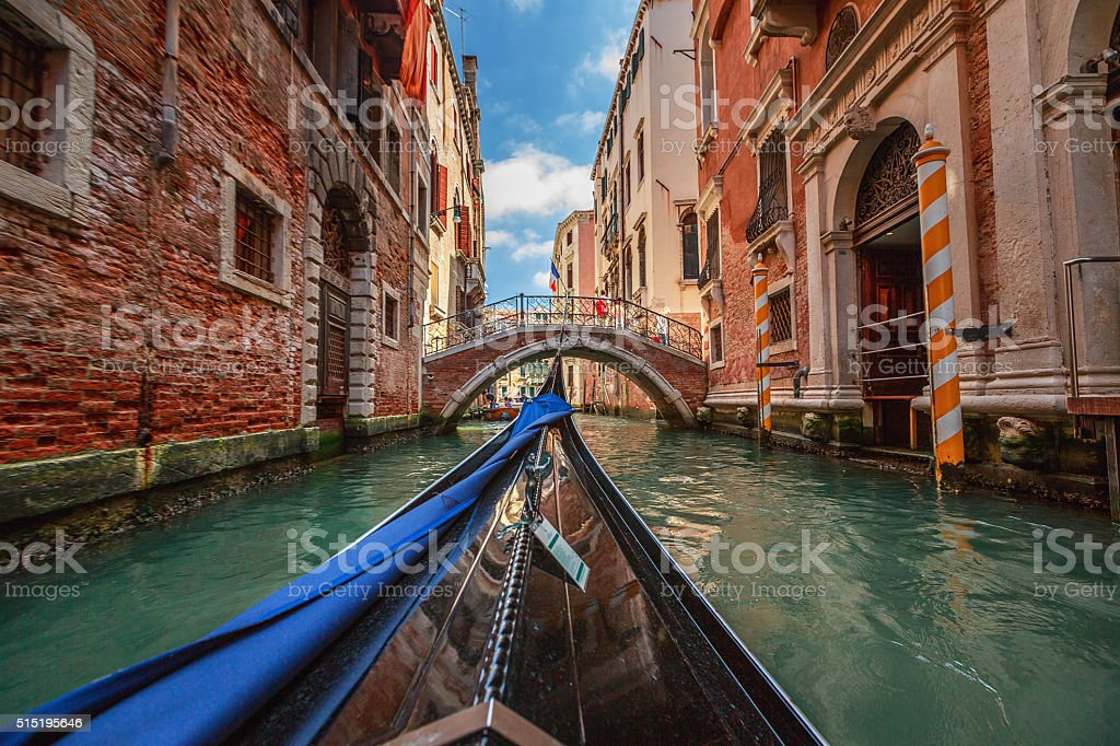 View from gondola during the ride through the canals, Venice stock photo