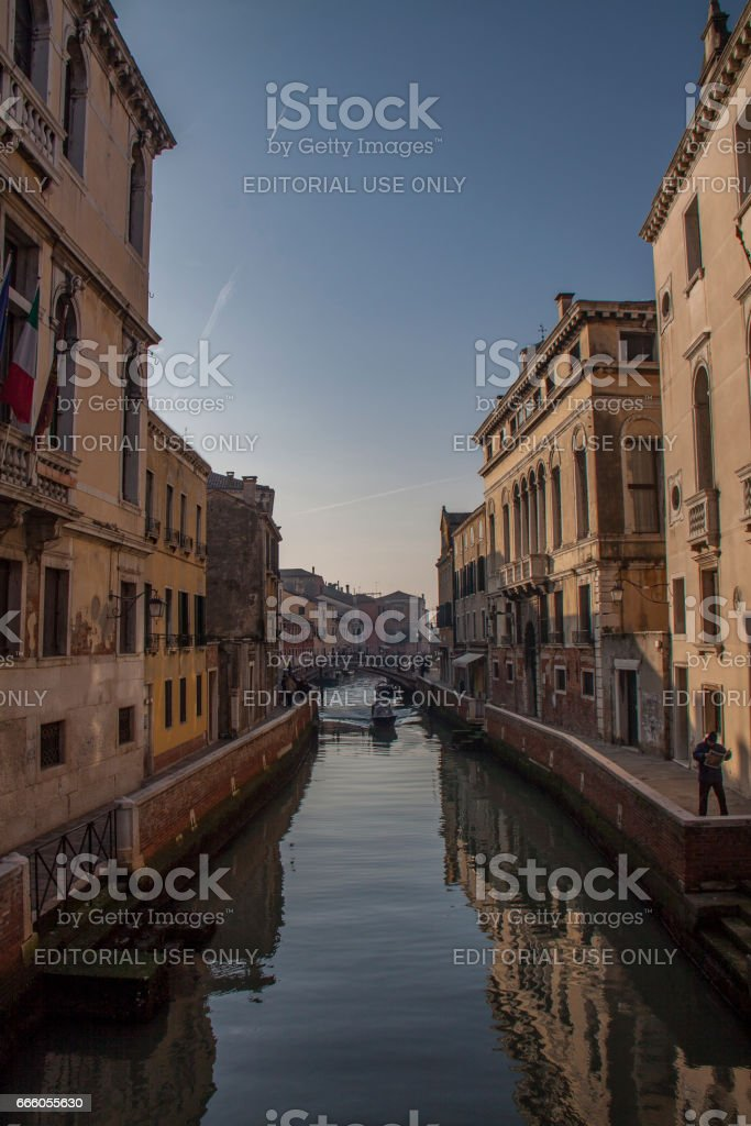 View from gondola during the ride through the canals, Venice стоковое фото