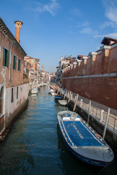 view from gondola during the ride through the canals, venice - batalina italy стоковые фото и изображения