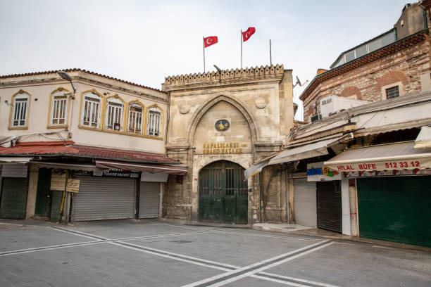 View from Grand Bazaar closed.The number of people in the squares and streets has decreased. stock photo