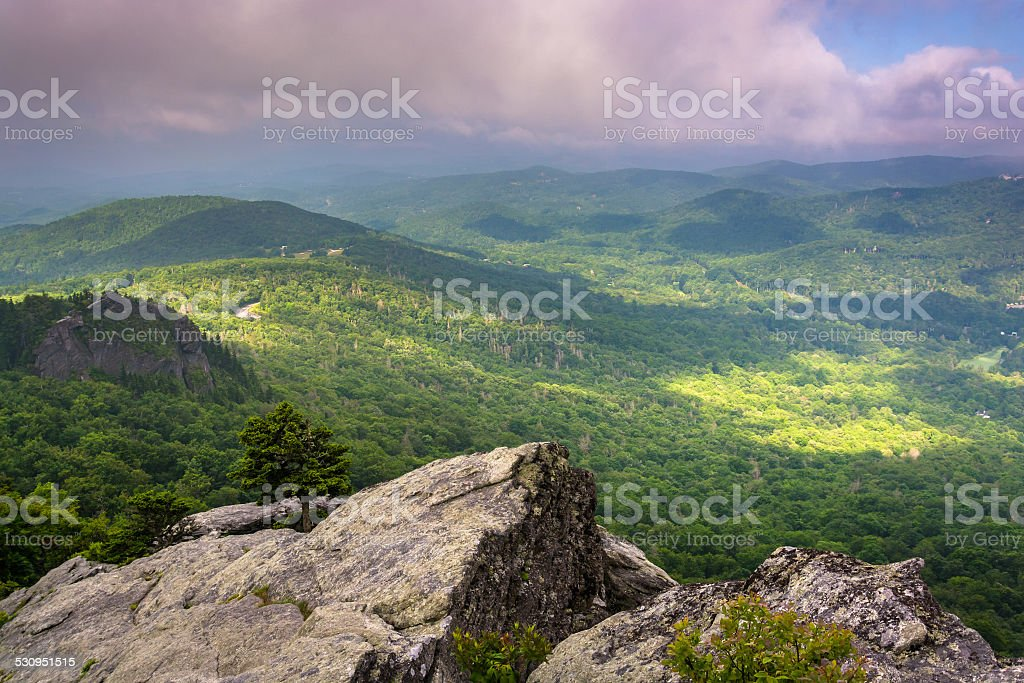 View from Grandfather Mountain, near Linville, North Carolina. stock photo