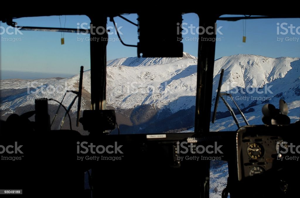 View from helicopter cockpit royalty-free stock photo
