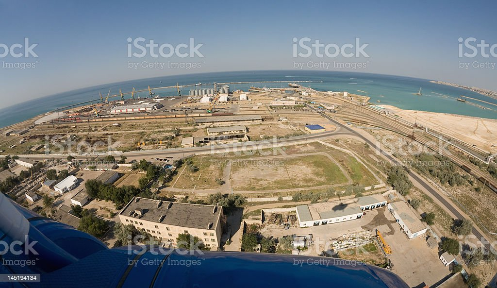 View from helicopter overhand. Aktau city. Kazakhstan royalty-free stock photo