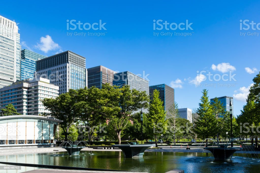 View from Hibiya Park Marunouchi Building group4 stock photo