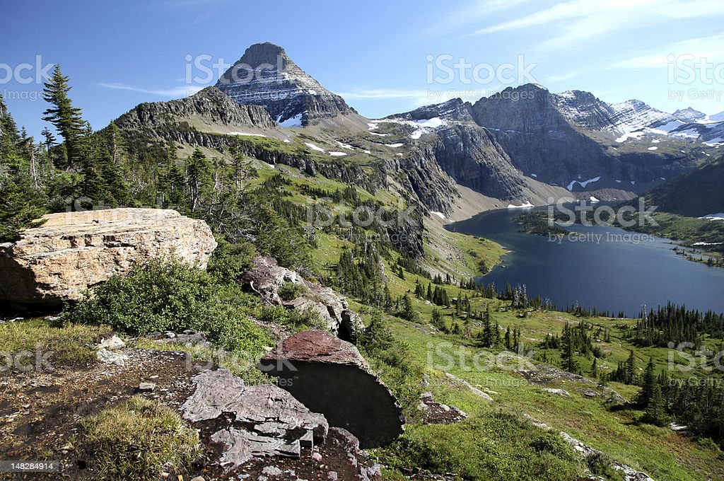 View From Hidden Lake Trail, Glacier National Park royalty-free stock photo