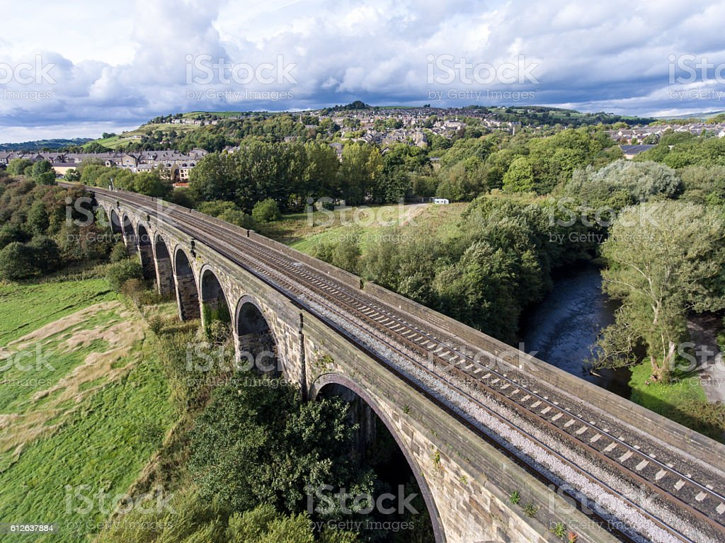 View from high angle: railway over the bridge, Derbyshire, England stock photo