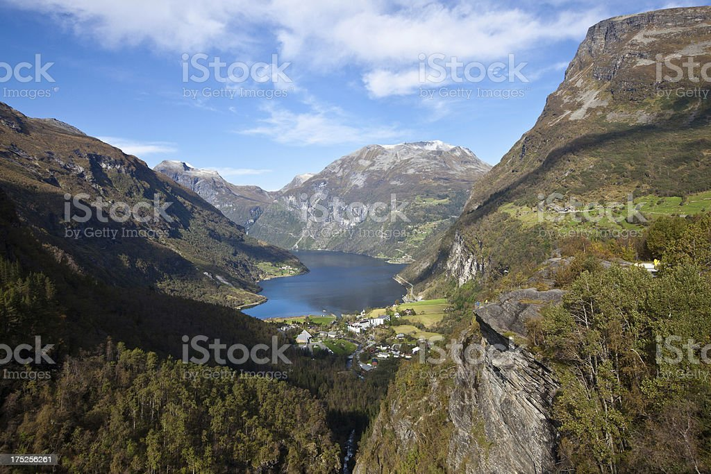 View from high up to Geiranger Fjord Norway royalty-free stock photo