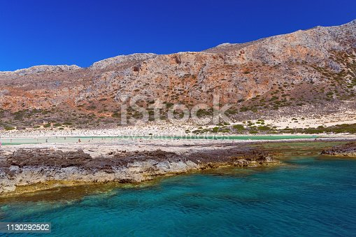 istock View from hight  of Balos beach. Grecce, Crete, Europe. Blue lagoon. Beautiful seascape. 1130292502