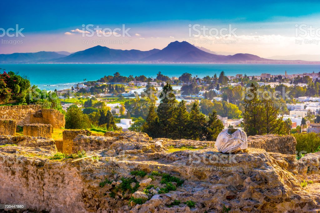 View from hill Byrsa with ancient remains of Carthage and landscape stock photo