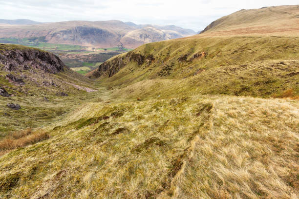 View from Hill into Valley stock photo