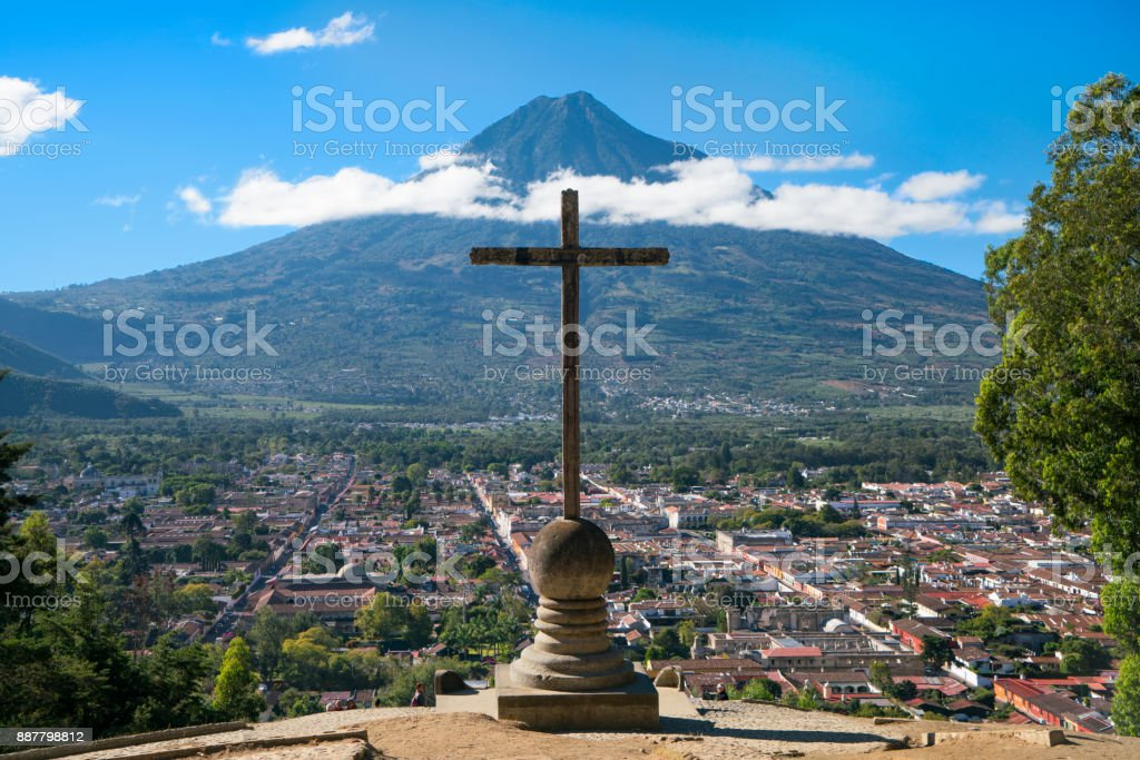 View From Hill of the Cross in Antigua Guatemala stock photo