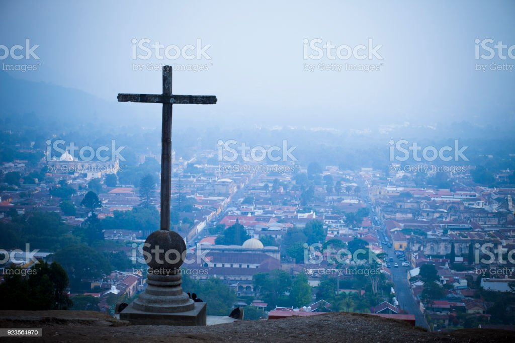 View From Hill of the Cross in Antigua, Guatemala. stock photo