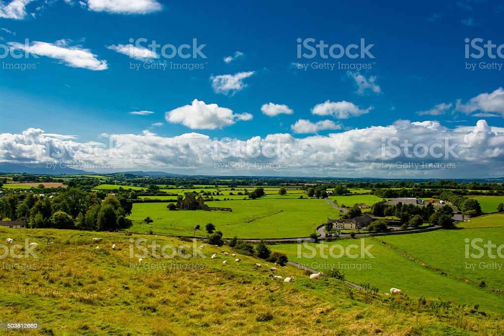 View From Hill With Sheep Over Landscape In Ireland stock photo