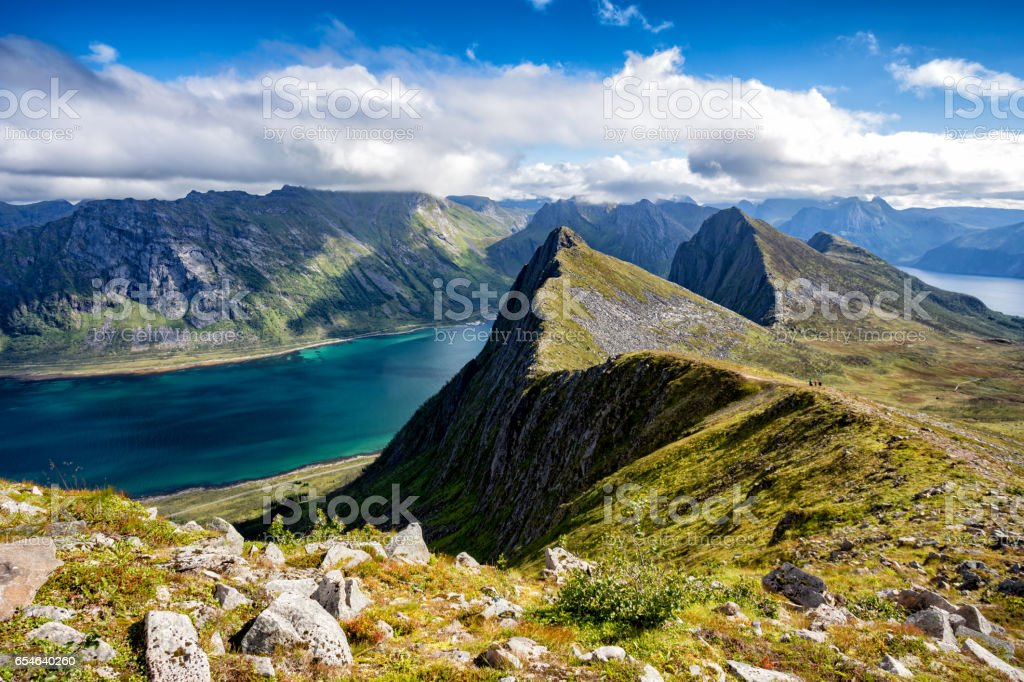 View from Husfjellet Mountain on Senja Island, Norway stock photo
