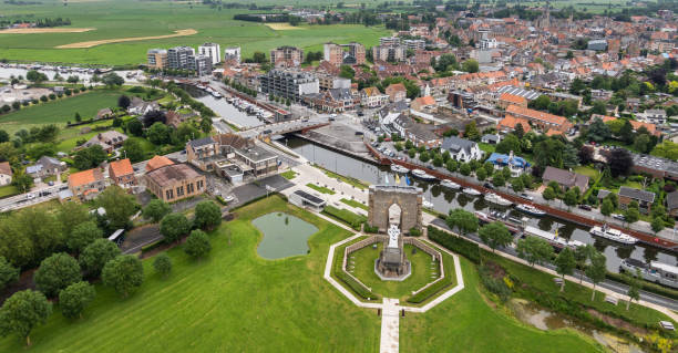 View from Ijzertoren  on crypt and Diksmuide, Flanders, Belgium. stock photo