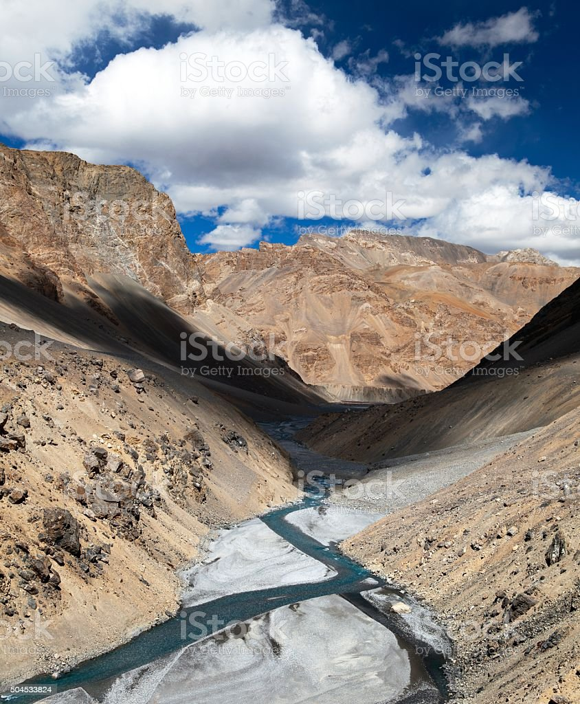 view from Indian himalayas - mountain and river valley stock photo