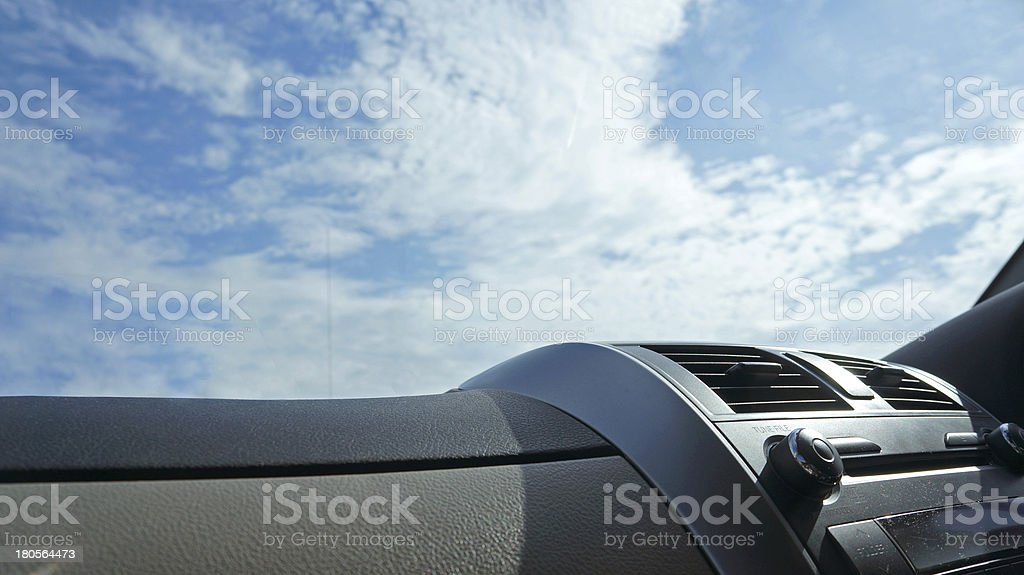view from inside car and sky background royalty-free stock photo