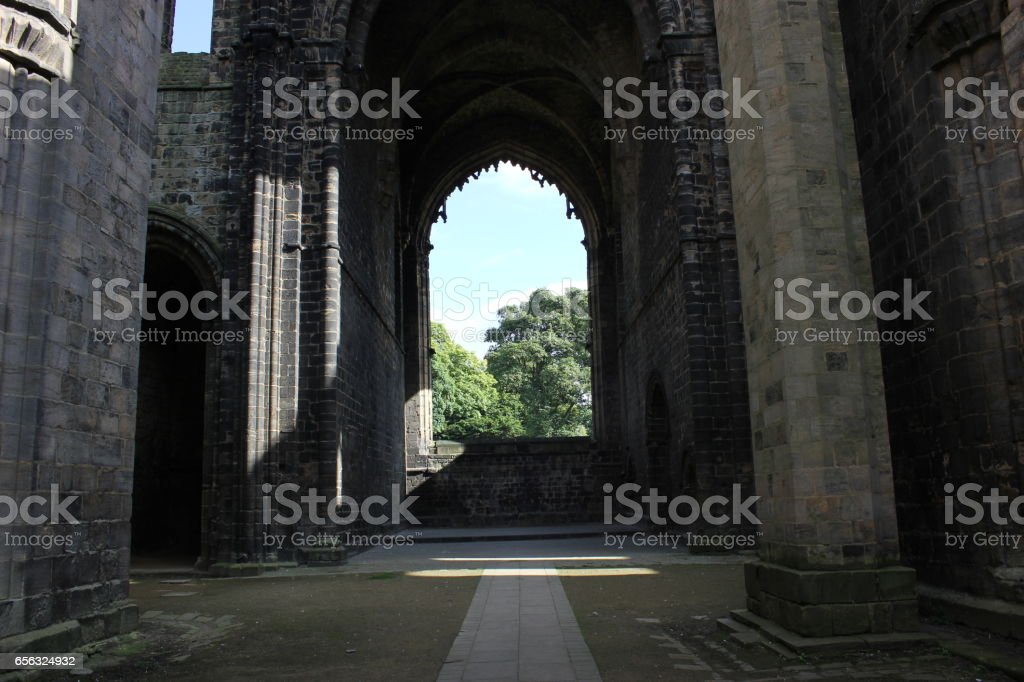 A view from inside Kirkstall Abbey stock photo