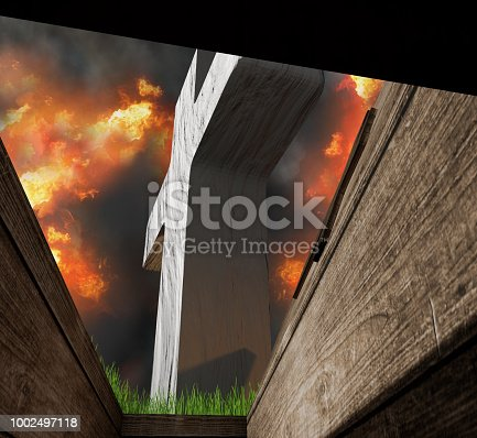 istock view from inside of a buried coffin in a grave on a graveyard in hell 3d-illustration 1002497118