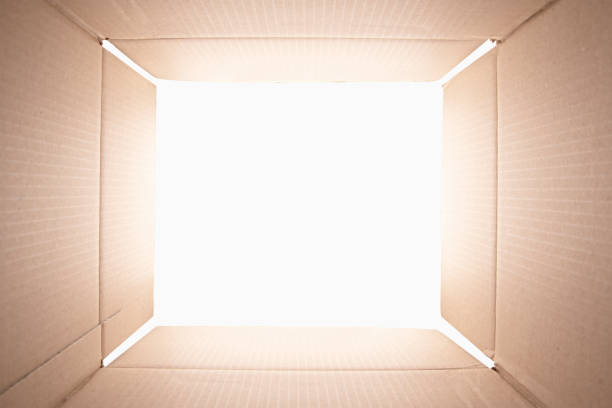 View from inside of a cardboard box. stock photo