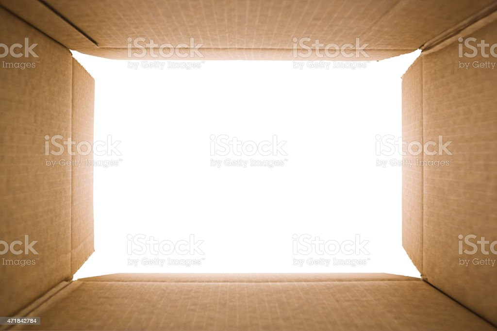 View from inside of a cardboard box stock photo