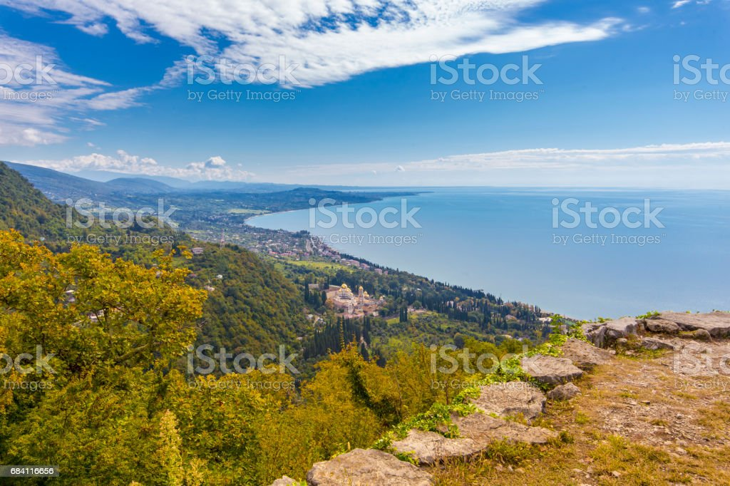 View from Iverian Mountain on Black Sea coastline foto stock royalty-free