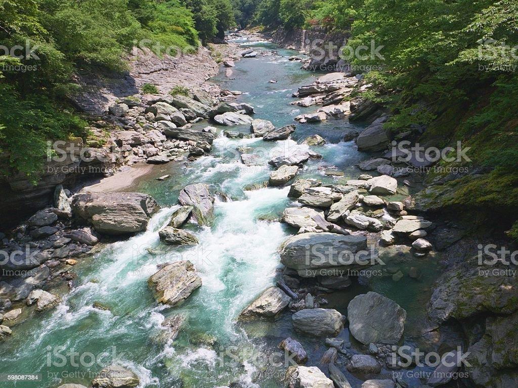 view from Iya no Kazura Bashi (Vine Bridge) stock photo