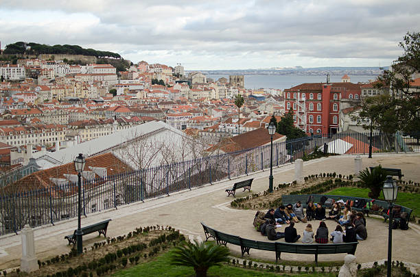 view from jardim de são pedro de alcântara in lisbon, portugal - peter the apostle stock photos and pictures