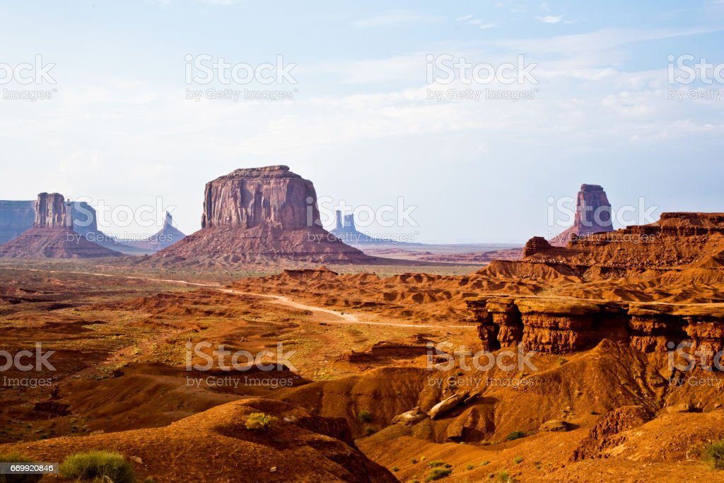 view from john fords point to the giant Merrick buttes, sandstone formations in the Monument valley stock photo