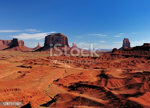 View From John Ford's Point To The Merrick Butte In The Monument Valley Arizona In The Morning On A Sunny Summer Day With A Clear Blue Sky