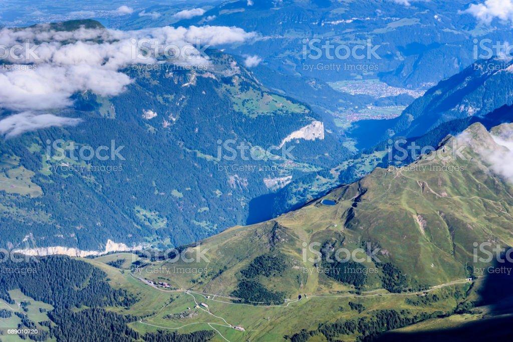 View from Jungfraujoch platform to Lauterbrunnen, Bernese Alps in Switzerland stock photo