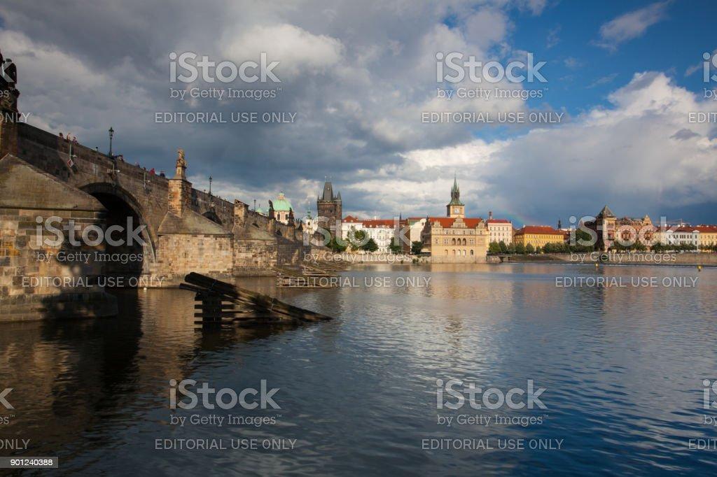 View from Kampa on Charles Bridge in Prague stock photo