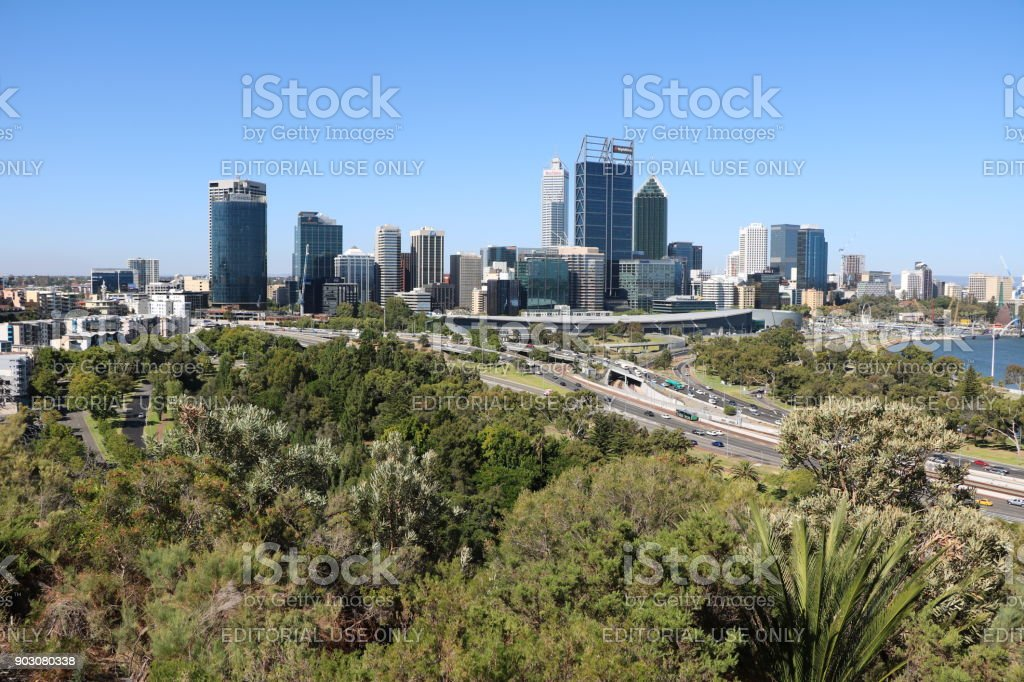 View from Kings Park to Perth at Swan River, Western Australia stock photo