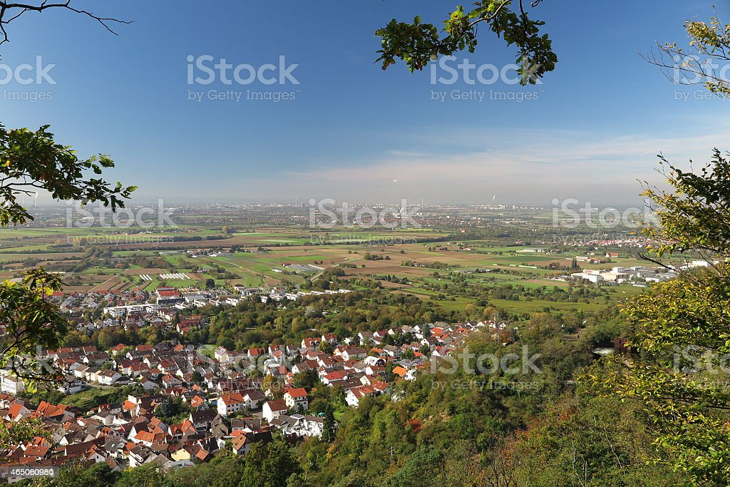 View from Kirchberg to Dossenheim, Mannheim and Rhine flood plain stock photo