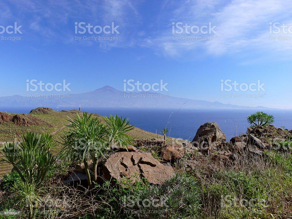 View from La Gomera to Tenerife royalty-free stock photo