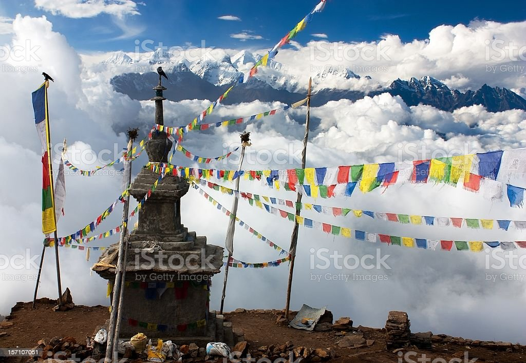 view from Langtang stupa and prayer flags stock photo