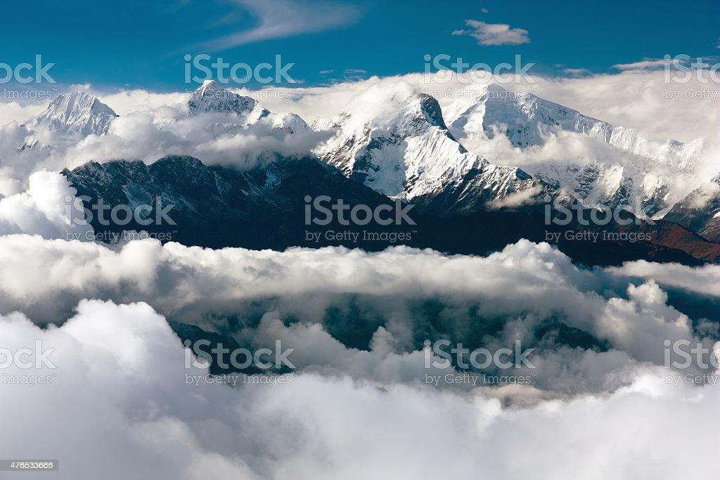 view from langtang to ganesh himal stock photo