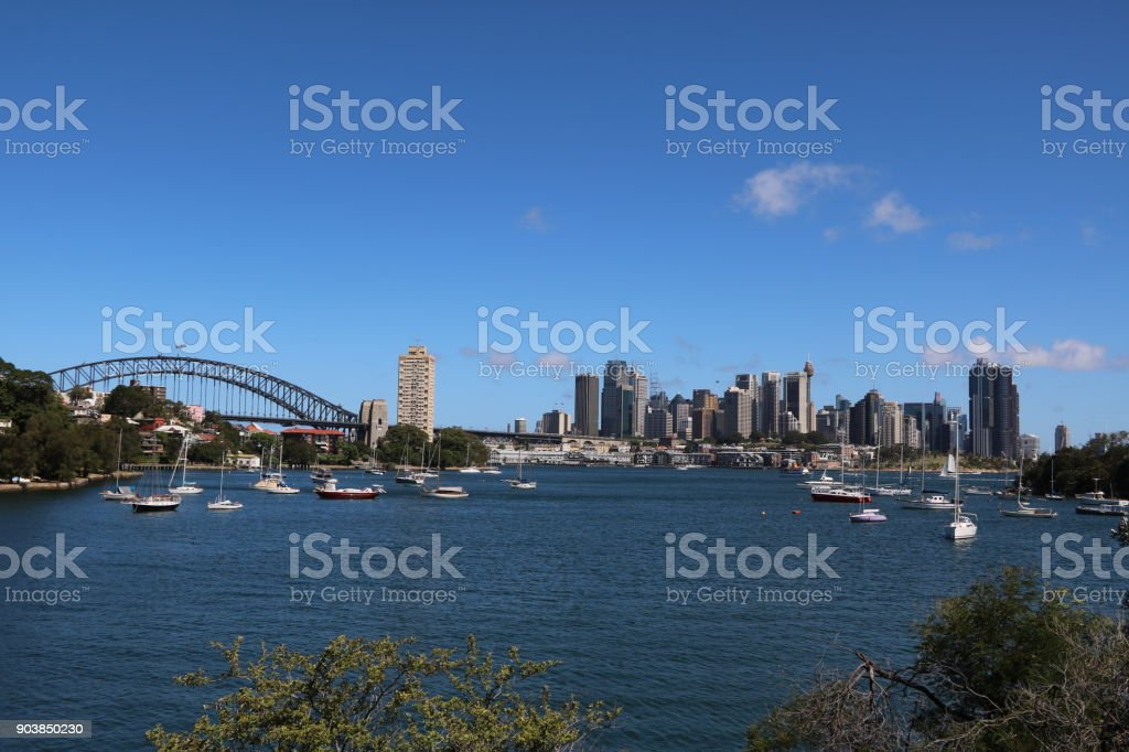 View from Lavender Bay to Harbour bridge and Sydney city, New South Wales Australia stock photo