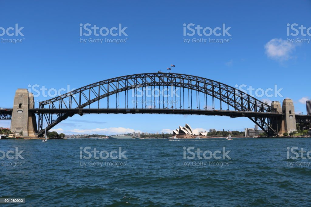 View from Lavender Bay to Harbour Bridge in Sydney, New South Wales Australia stock photo