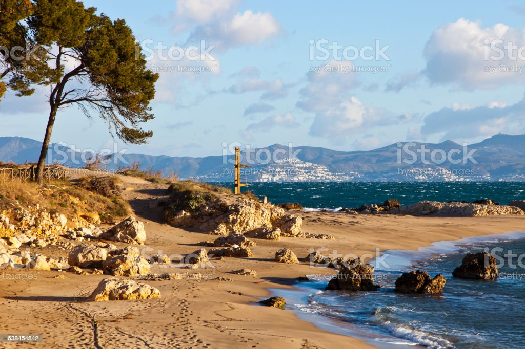 View from L'Escala to Rosas stock photo