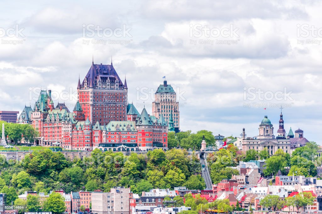 View from Levis city on cityscape and skyline of Quebec City, Canada with Saint Lawrence river and tour boats, funicular stock photo