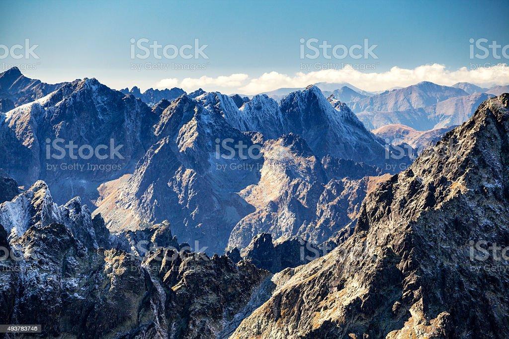 View from Lomnicky peak (Lomnický štít) stock photo