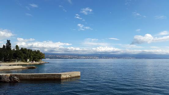 view from Lovran to Rijeka -  Primorje-Gorski Kotar County in Croatia