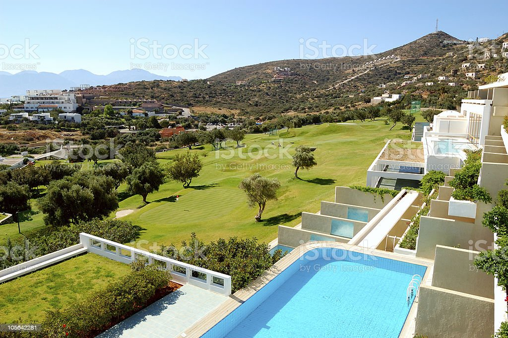 View from luxury hotel on golf field, Crete, Greece royalty-free stock photo