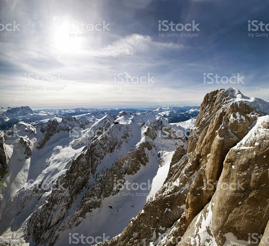 View from Marmolada to Venice royalty-free stock photo