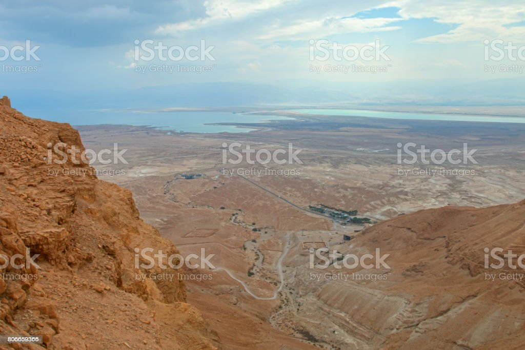 View from Masada fortress, Israel stock photo