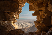 view of the desert and dead sea from the fortress of Masada