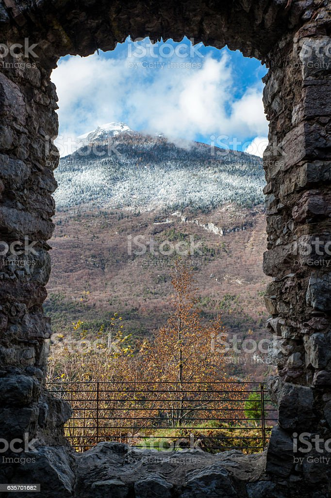 view from medieval castle to Tuscany landscape royalty-free stock photo